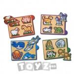 Melissa&Doug Mini puzzle in cutie: Animale (4 piese)