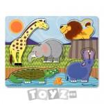 Melissa&Doug Puzzle lemn Atinge si Descopera: Animale de la Zoo (5 piese)