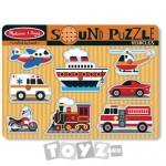 Melissa&Doug Puzzle lemn cu sunete: Vehicule (8 piese)