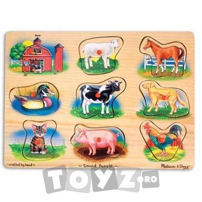 Melissa&Doug Puzzle lemn natur cu sunete: Animale de ferma (8 piese)