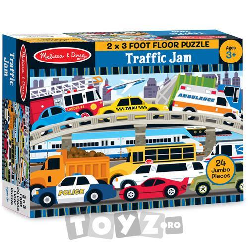 Melissa&Doug Puzzle de podea Blocaj in trafic (24 piese)