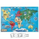 Melissa&Doug Puzzle de podea Harta lumii (33 piese)