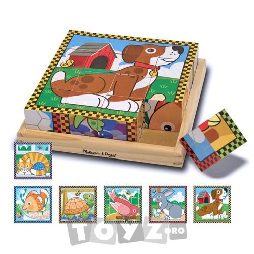 Melissa&Doug Puzzle lemn din cuburi Animalele de casa (16 piese)