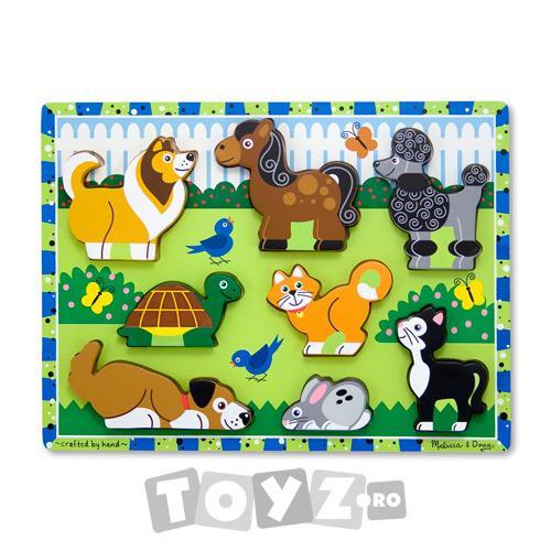 Melissa&Doug Puzzle lemn in relief Animale de companie (8 piese)