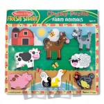 Melissa&Doug Puzzle lemn in relief Animale de ferma (8 piese)