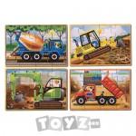Melissa&Doug Set 4 puzzle lemn in cutie: Vehicule pentru constructii (12 piese)