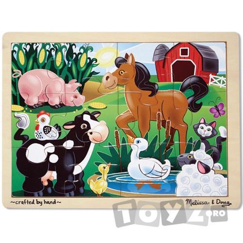 Melissa&Doug Puzzle din lemn Ferma (12 piese)