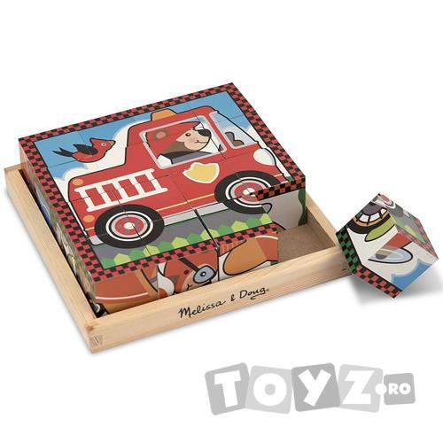 Melissa&Doug Puzzle Vehicule (16 cuburi)