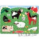 Melissa&Doug Puzzle din lemn Animalele de la ferma (6 piese)