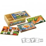 Melissa&Doug Set 4 puzzle-uri din lemn in cutie – Animale domestice (12 piese)