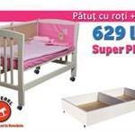 Mesterel Pachet Promotional Patut bebe junior Mos Ene Cu Roti Si Sertar