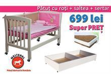 Mesterel Pachet Promotional Patut bebe junior Mos Ene Cu Roti Sertar Si Saltea Cocos – Burete – Cocos