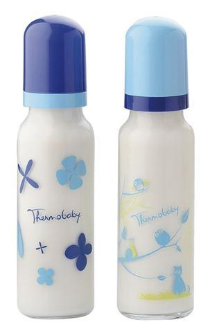 THERMOBABY Set 2 biberoane din sticla 250 ml tetine silicon