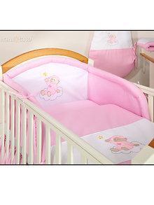 Mamo-Tato Mamo-Tato – Lenjerie patut Ursulet + cearceaf 3 piese 120x60cm roz