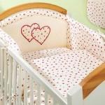 Mamo-Tato Mamo-Tato – Lenjerie patut Inimioare 5 piese 120x60cm roz pal