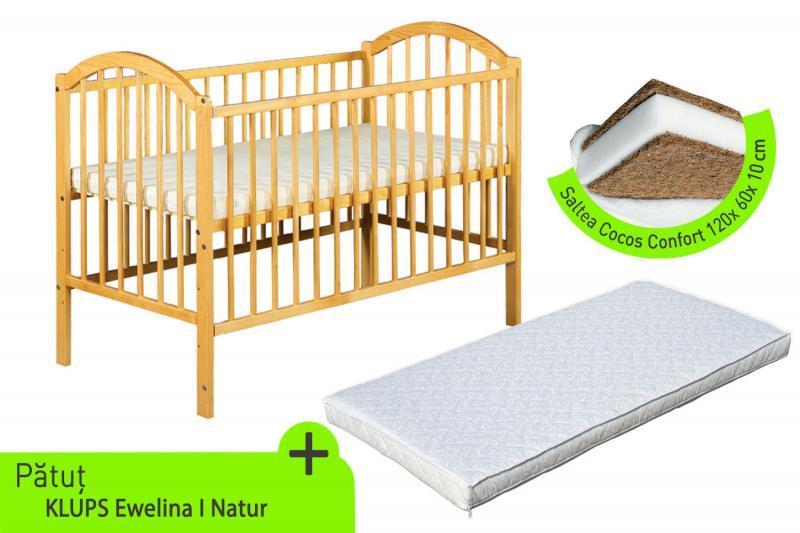 Klups Klups – Patut lemn Ewelina I natur + Saltea cocos