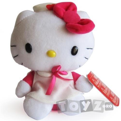 Intek Mascota Hello Kitty 16 cm,cu rochita roz