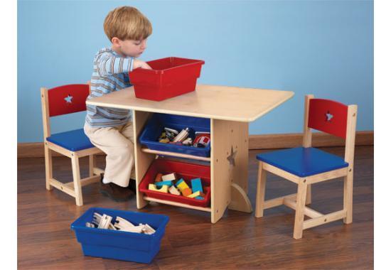 Kid Kraft Kid Kraft – Set 2 scaune si masa cu lazi depozitare Star