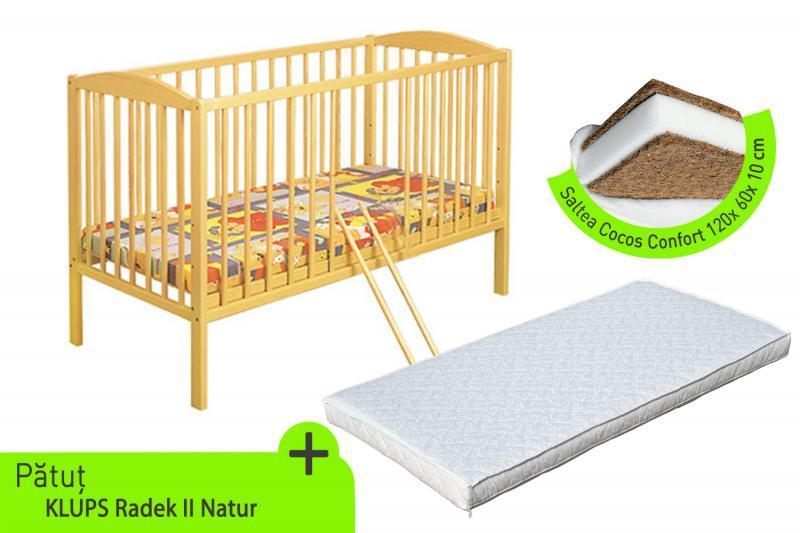 Klups Klups – Patut lemn Radek II + Saltea cocos