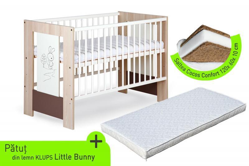 Klups Klups – Patut lemn Little Bunny + Saltea cocos