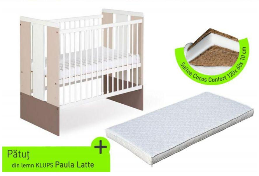 Klups Klups – Patut lemn Paula latte + Saltea Cocos