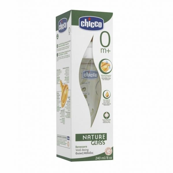 CHICCO Chicco – Nature Glass Biberon Sticla 240 Ml T.C 1 Orificiu 0+ 0% Bpa