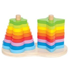 Hape Jucarie eco din lemn Double Rainbow Stacker Hape