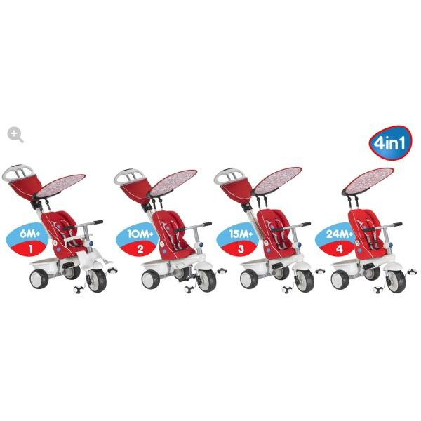 Smart Trike Smart Trike – Tricicleta Recliner Stroller 4 in 1 Rosu