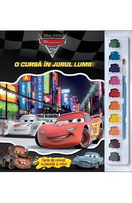 O cursa in jurul lumii – Carte de colorat cu pensula si culori