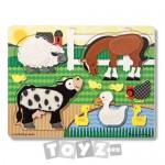 Melissa&Doug Puzzle lemn Atinge si Descopera: Animale de ferma