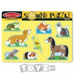 Melissa&Doug Puzzle lemn cu sunete: Animale de companie (8 piese)