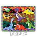 Melissa&Doug Puzzle lemn in relief Dinozauri (7 piese)