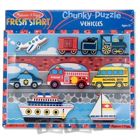 Melissa&Doug Puzzle lemn in relief Mijloace de transport (9 piese)