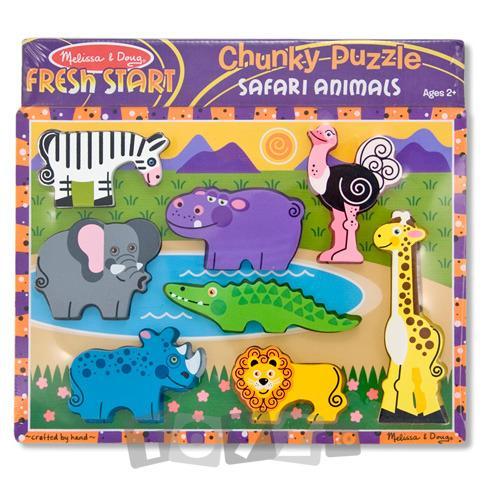 Melissa&Doug Puzzle lemn in relief Safari (8 piese)