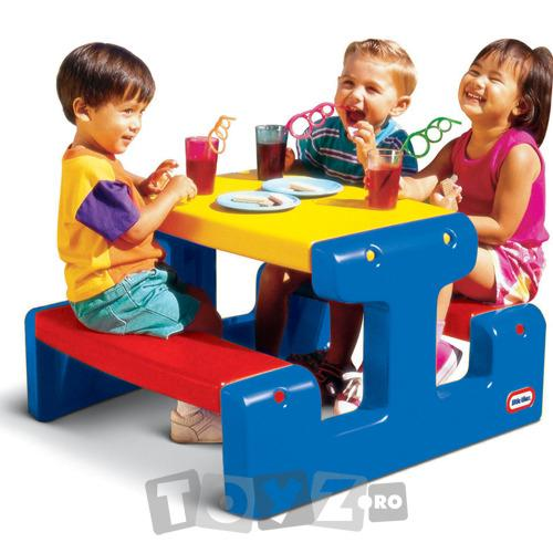 LittleTikes Masa picnic cu banchete – albastru/rosu