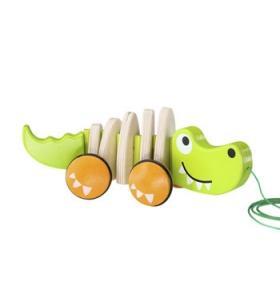 Hape Jucarie eco din lemn Crocodil de plimbat Hape